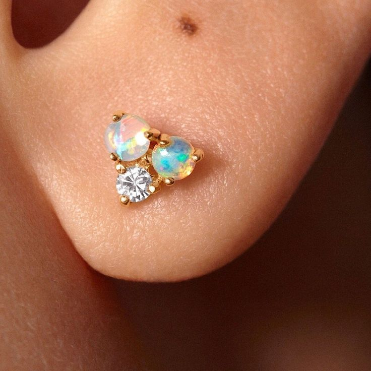 66e3173b0 Petite opal ball Cluster Stud Earrings 14k gold over sterling silver, tiny  3mm studs with enhanced opals with blue fire and tiny round zircon dainty  stud ...