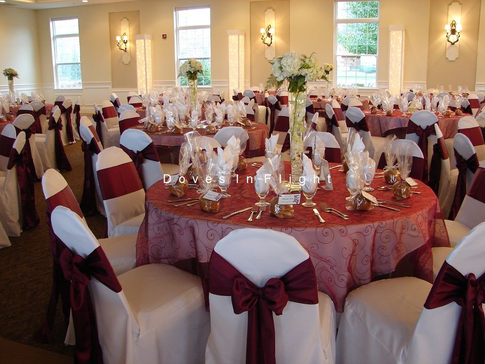Burgundy And Champagne Wedding Ideas | Burgundy Embroidered Overlays