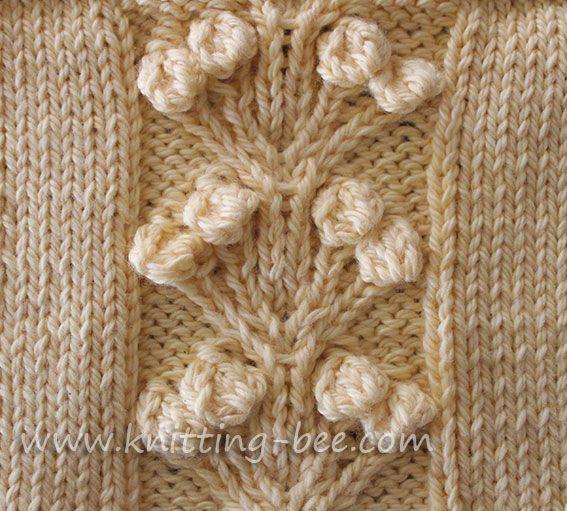 Free Knitting Stitches : Free Nosegay Stitch Knitting Pattern via the www.knitting-bee.com Free Knit...