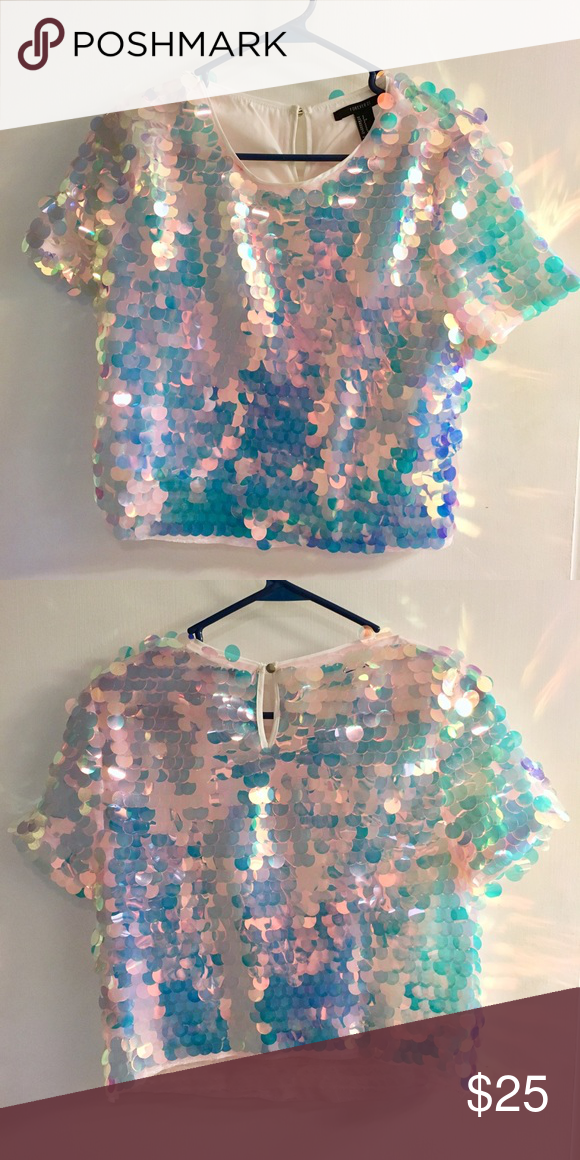270d740a5a Iridescent holographic sequin top Iridescent holographic large sequin crop  top. Brand new. Forever 21 Tops Crop Tops