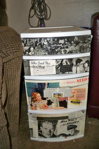 Redecorated clear, plastic drawers with vintage magazine pages.