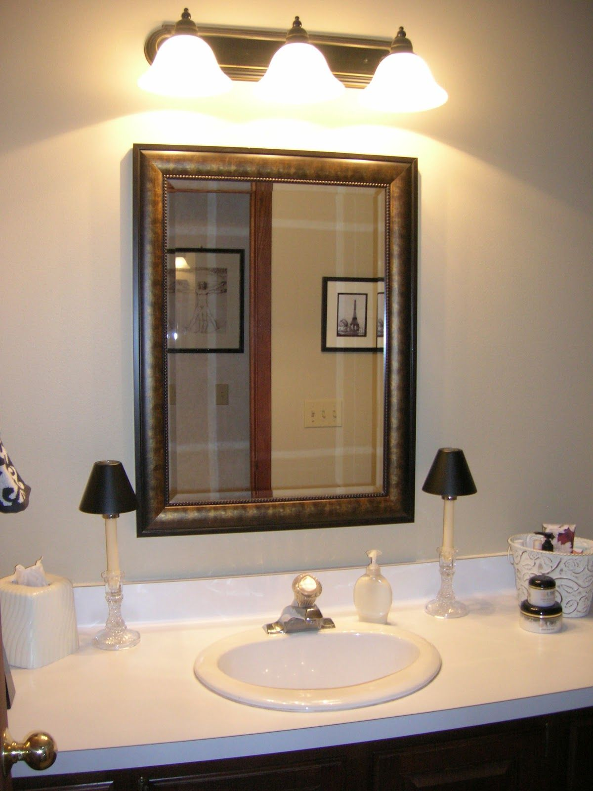 bathroom lighting over large mirror | Home Inspirations | Pinterest ...