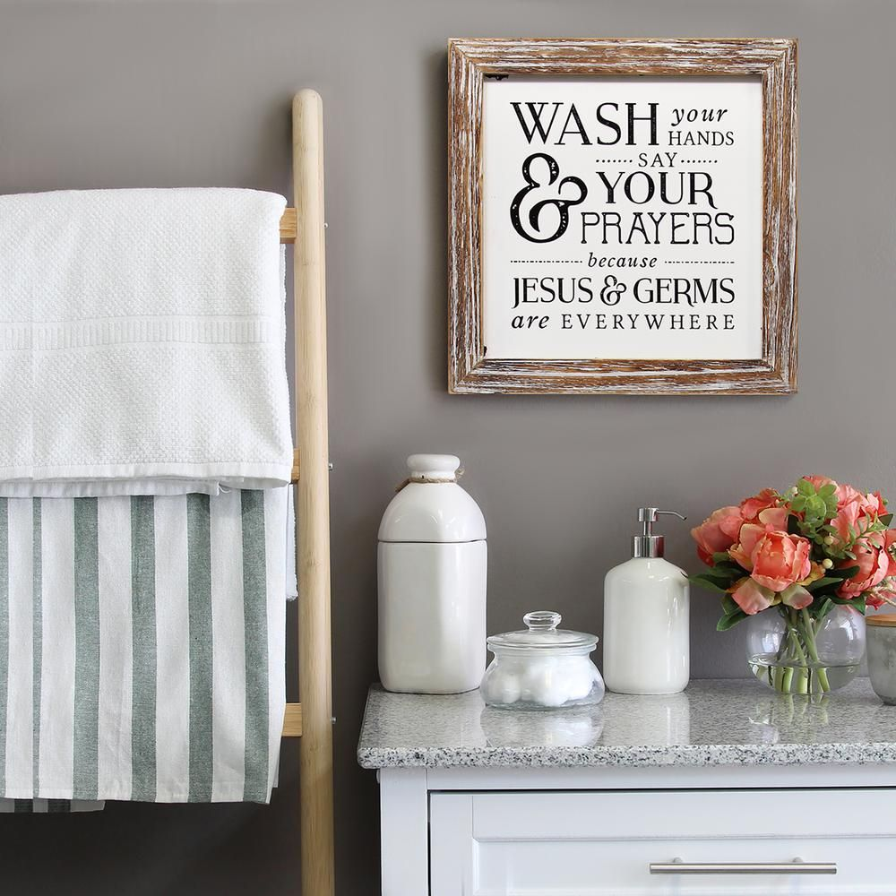 Stratton Home Decor Wash Your Hands Say Your Prayers-S16080 - The Home Depot