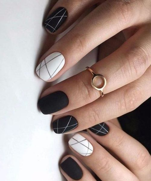 New White and Black Nail Art Designs to Look Awesome - Nail Art Set, Tape Line Nail Stickers, Colored Rhinestones