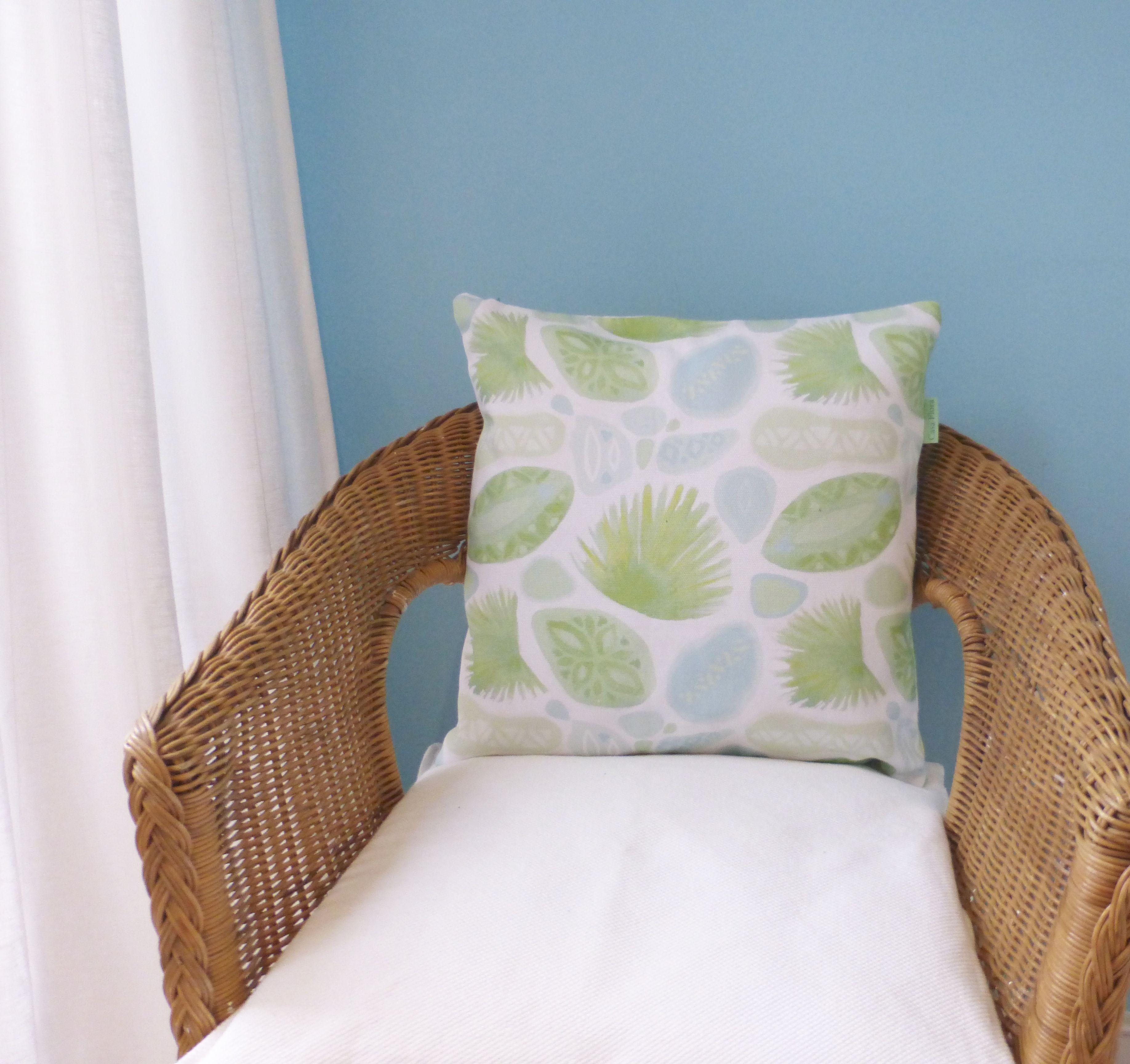 Green u blue tropical palm cushion hand painted watercolour design