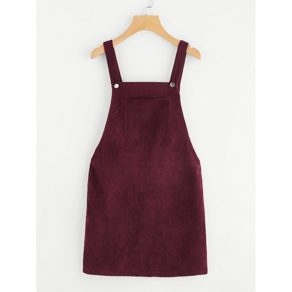 Bib pocket front overall dress burgundy products pinterest bibs