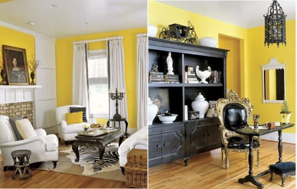 How To Decorate With Black White Yellow Living Room White