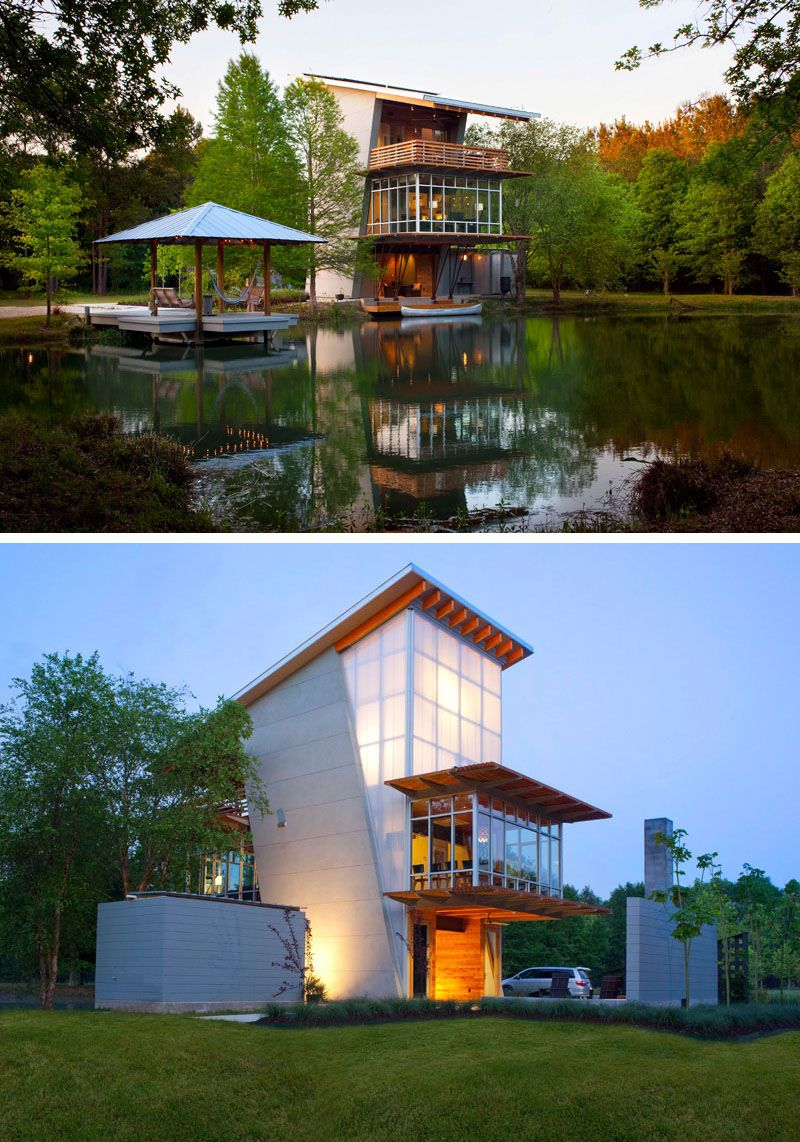 16 examples of modern houses with a sloped roof the slope of the roof on this modern pond side house allows the solar panels to take in as much energy as