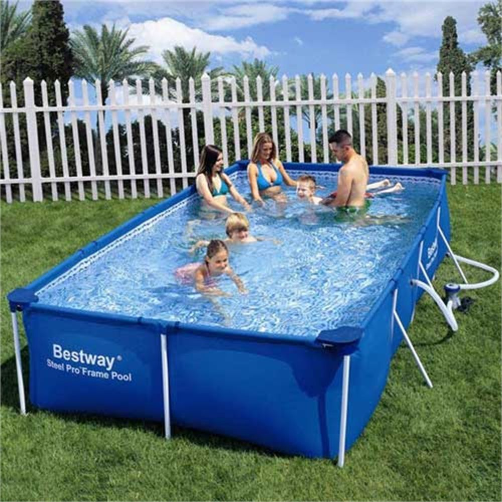 Bestway rectangular steel frame pool 157 39 39 x 83 39 39 for Garden paddling pools