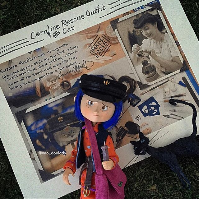 Coraline Rescue Outfit And Cat This Doll Is A Neca Bendy Toy Coraline With Custom Vest Satchel Shoes Hat Belt Candle Synthetic Hair W Coraline Clay Mation