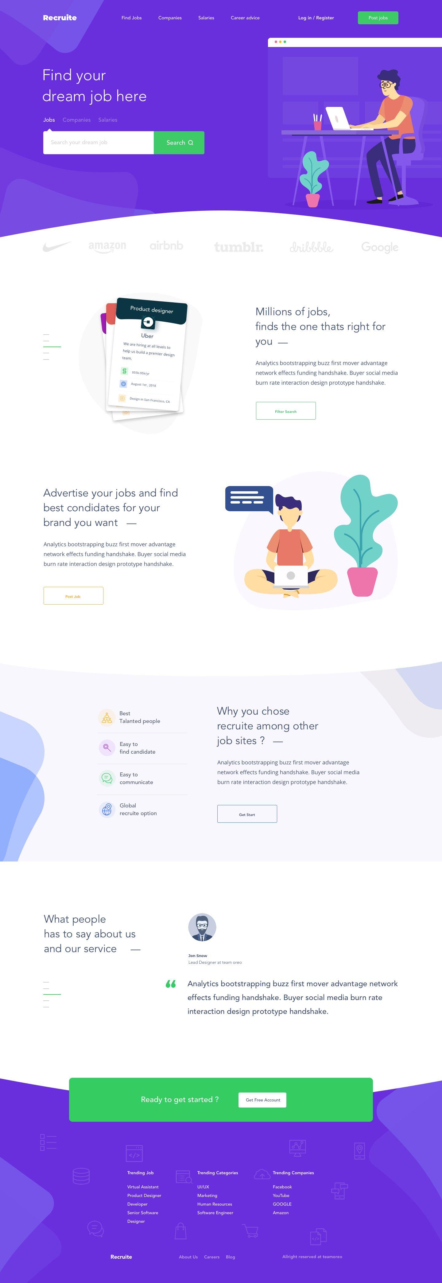 Jobs Portal Website Landing Page Template Corporate Website Design Web Design Jobs Web Design Quotes