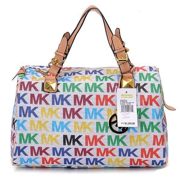 b264d127e3c8 MICHAEL Michael Kors Grayson Signature PVC Medium Satchel White/Rainbow