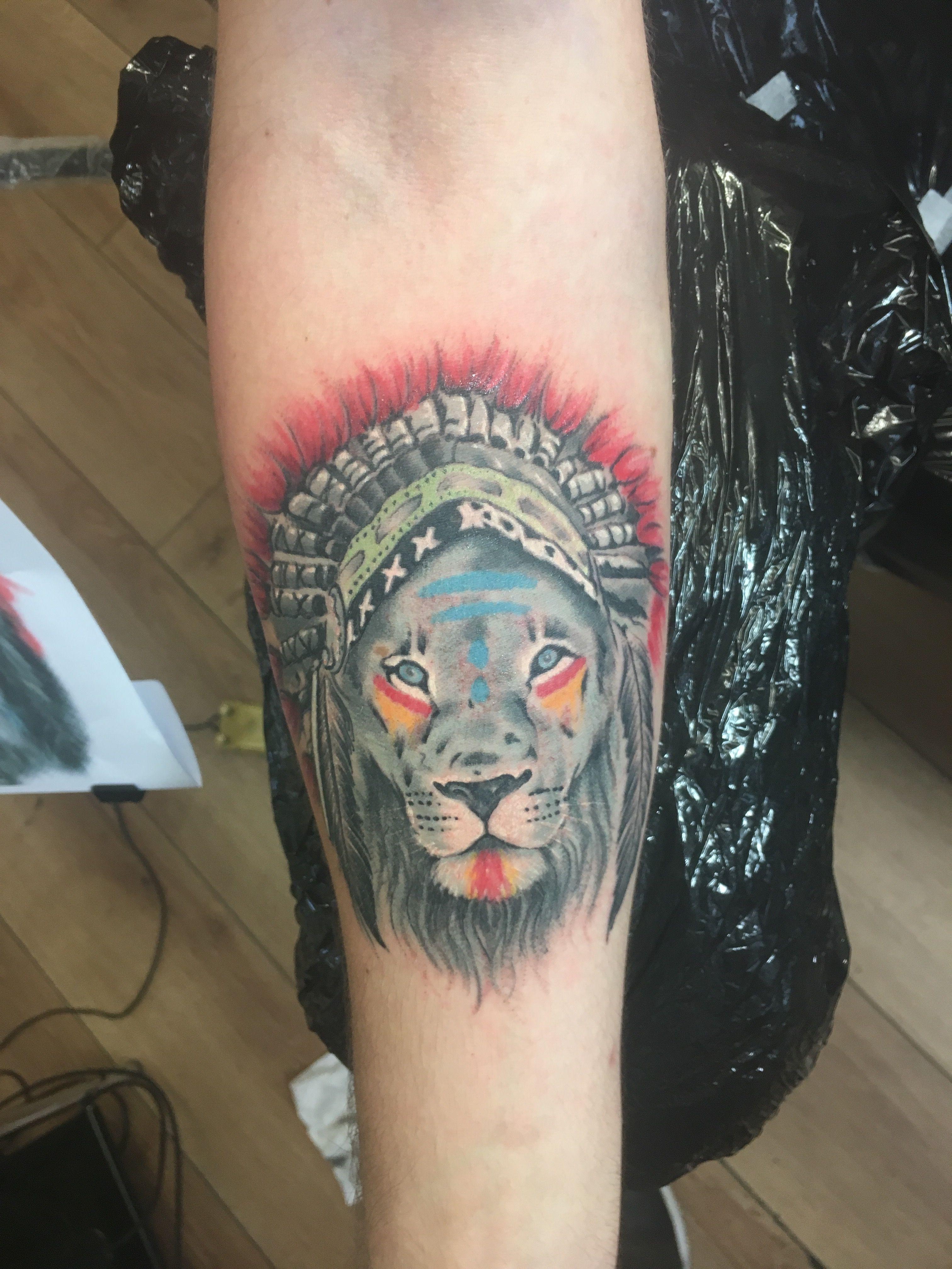 Lion tattoo Indian headdress Indian tattoo, Color tattoo