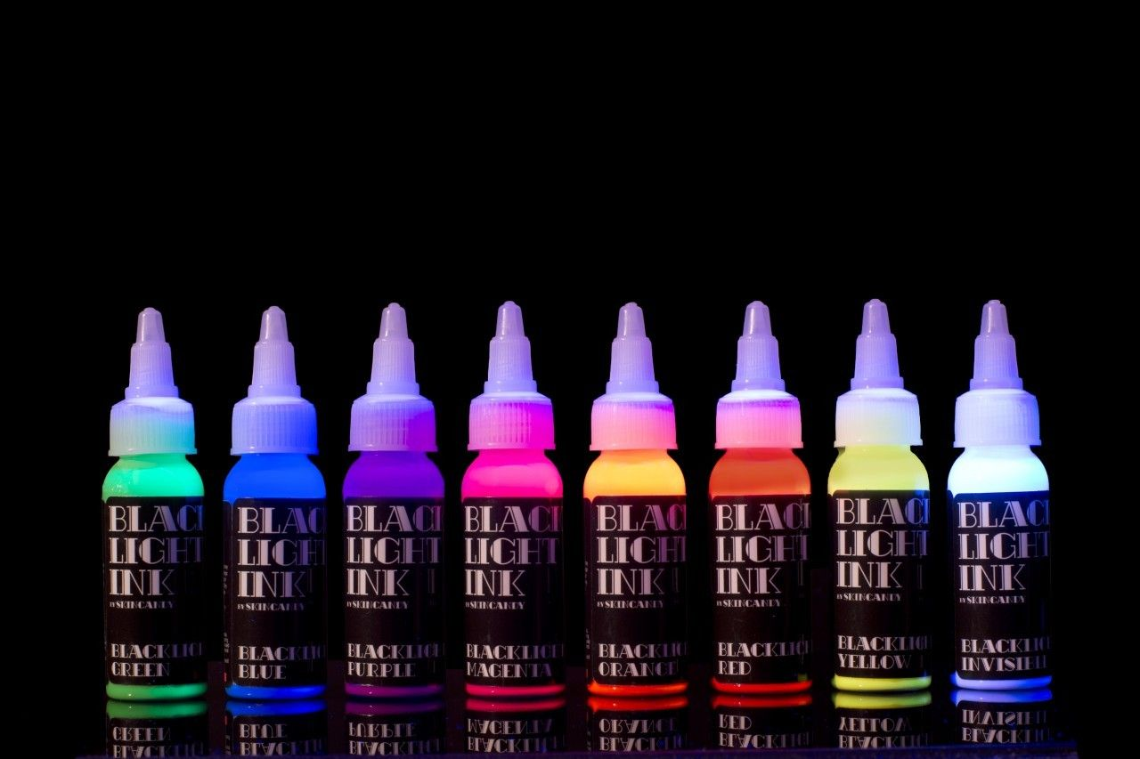 Skincandy Blacklight 8 Color Rack UV Tattoo Ink - SkinCandy Tattoo ...