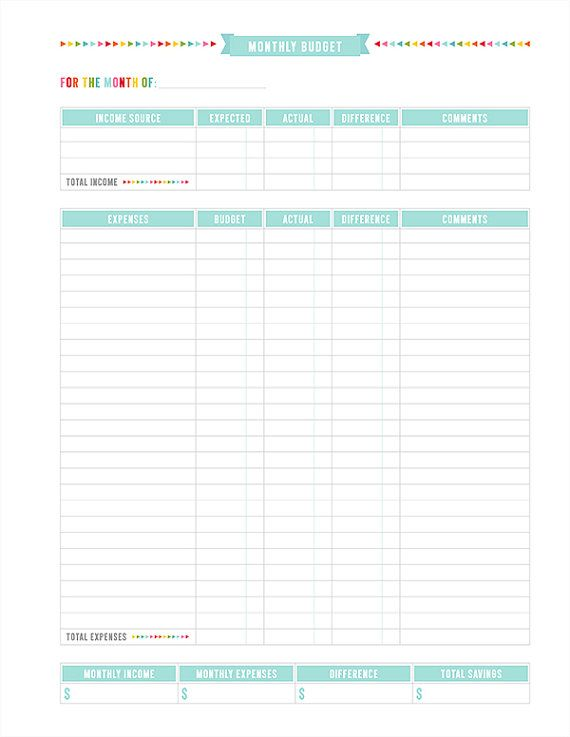 Monthly Budget Printable PDF Planner Page instant by MissTiina - monthly expenditure template