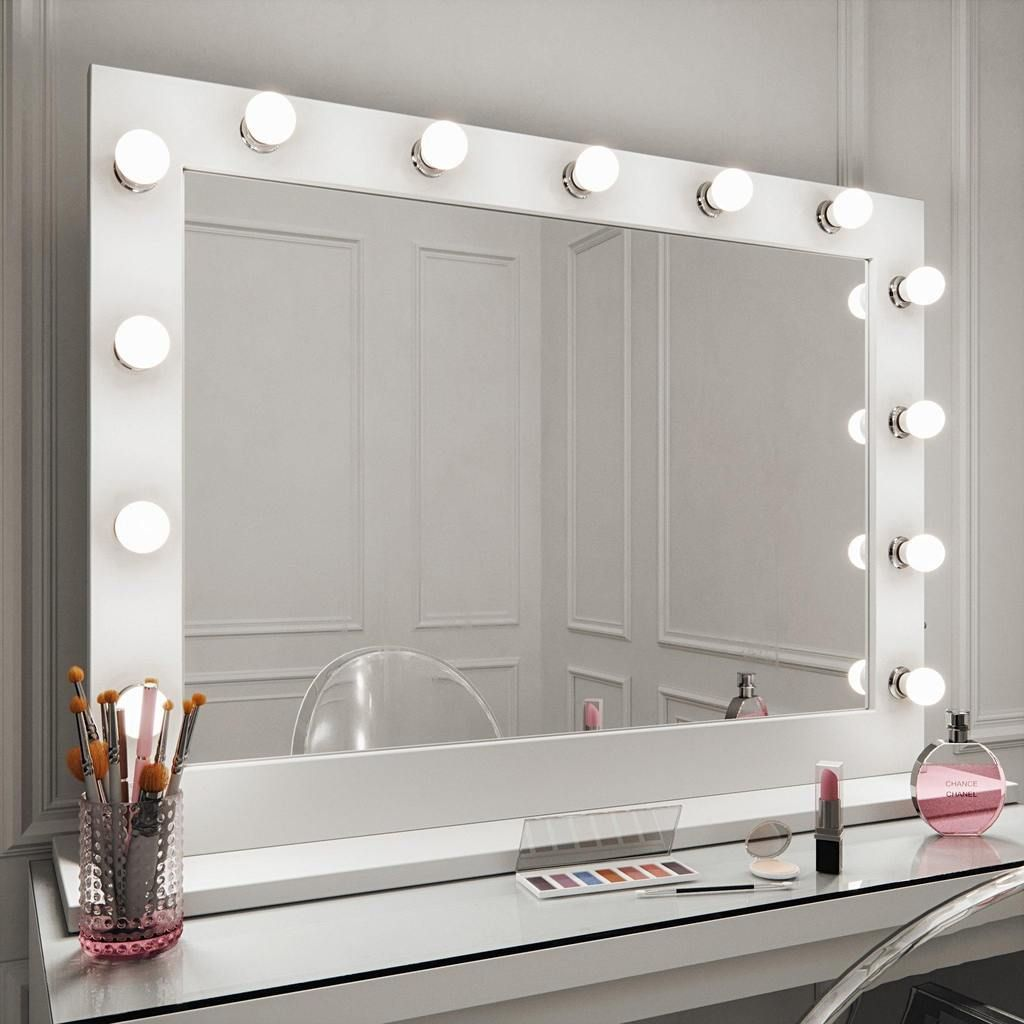 Audrey Hollywood Mirror In White Gloss 100 X 80cm Hollywood Mirror Modern White Dressing Table Illuminated Dressing Table Mirror
