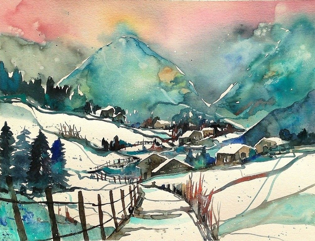 Aquarell Winter Snow Landscape Schnee Winterlandschaft