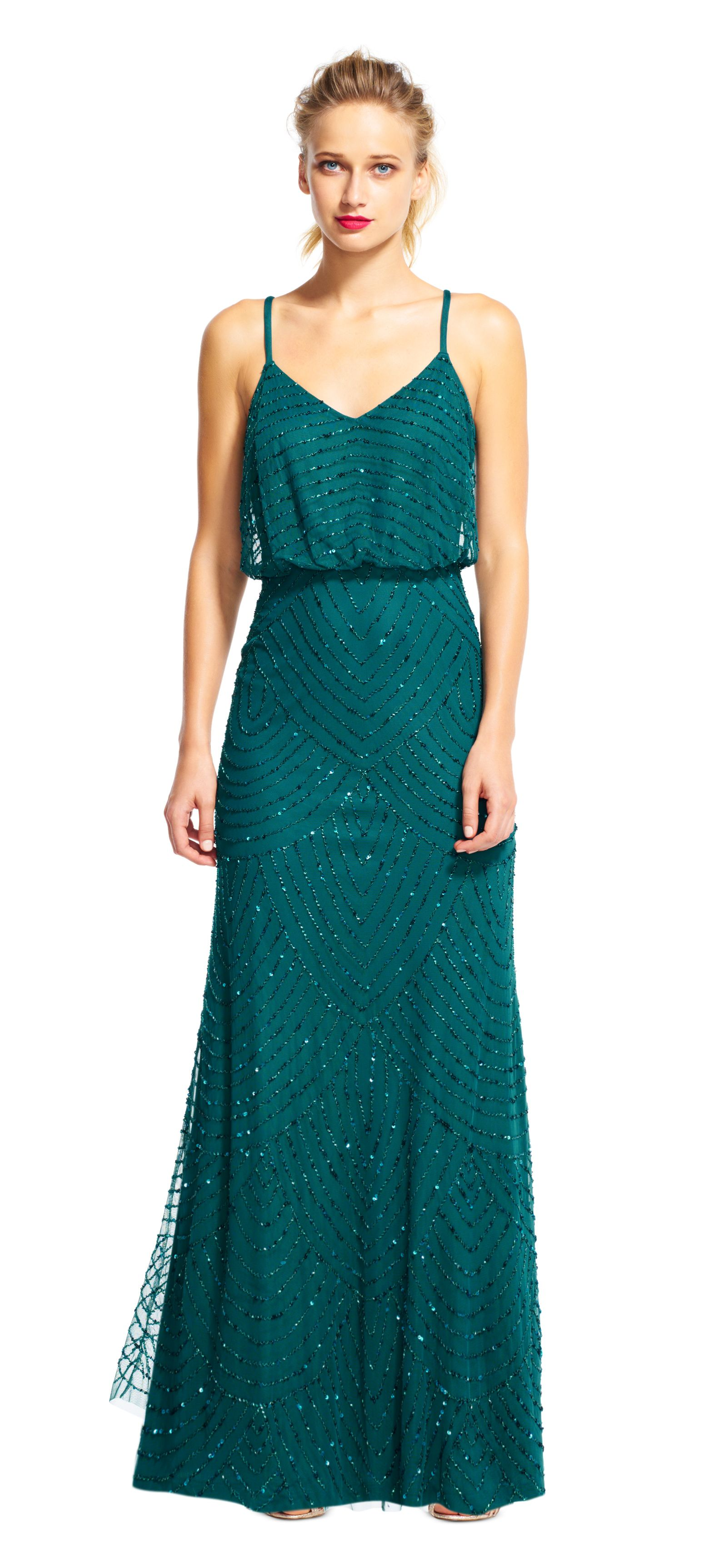 Adrianna Papell hunter green art deco blouson beaded gown | A ...