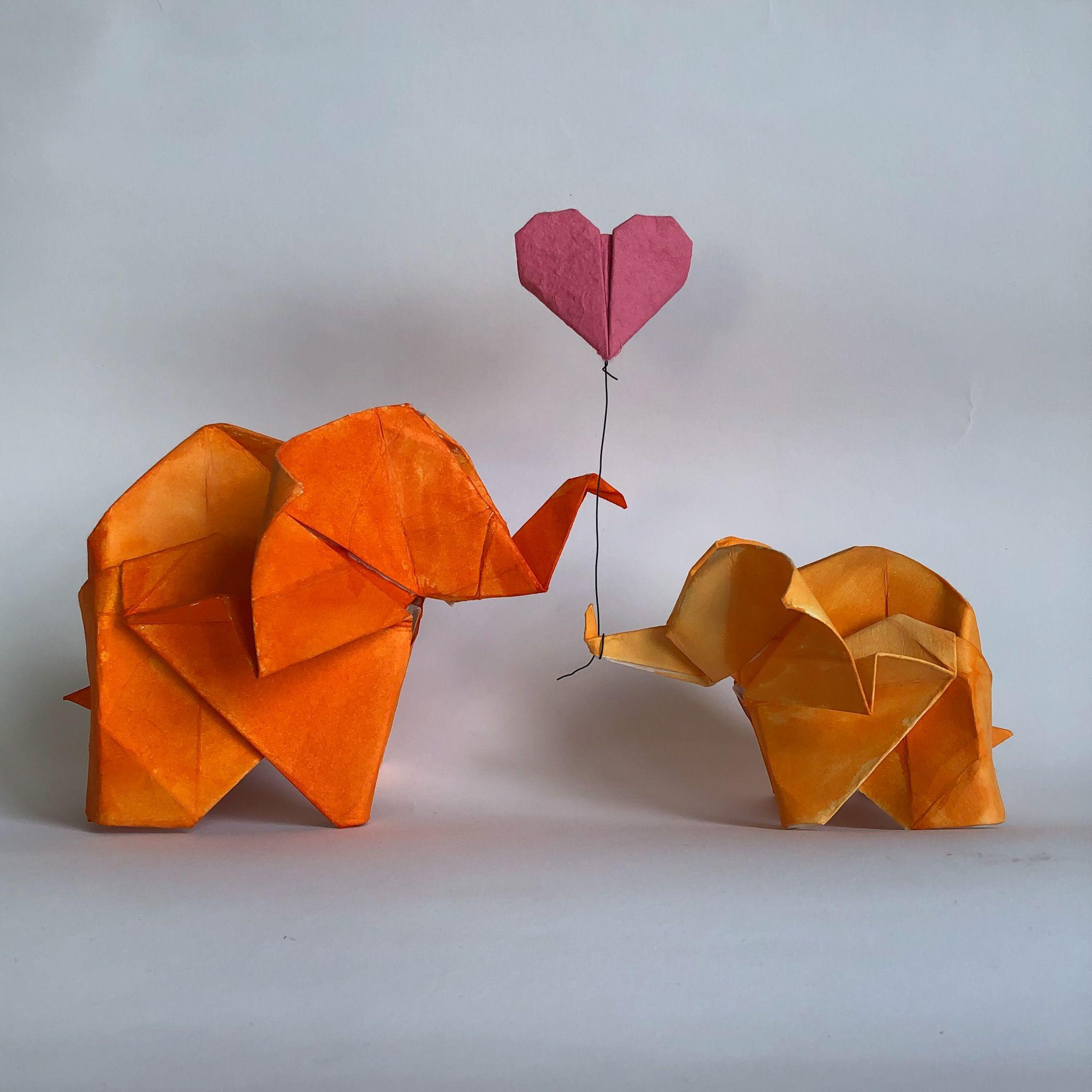 Photo of Mother & Baby Origami Elephants & Heart