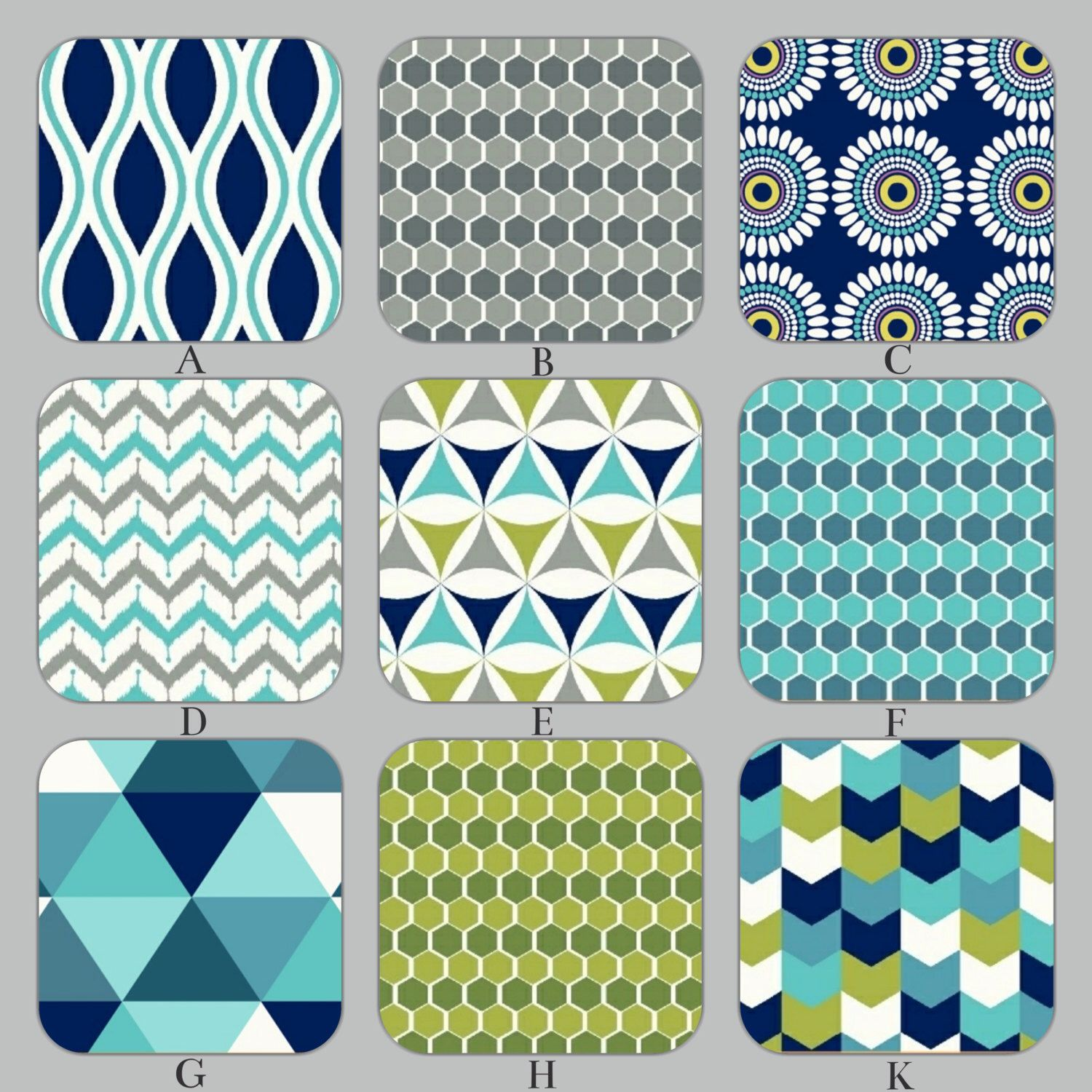 Turquoise Aqua Lime And Gray Geometric Custom Baby Crib Bedding Set