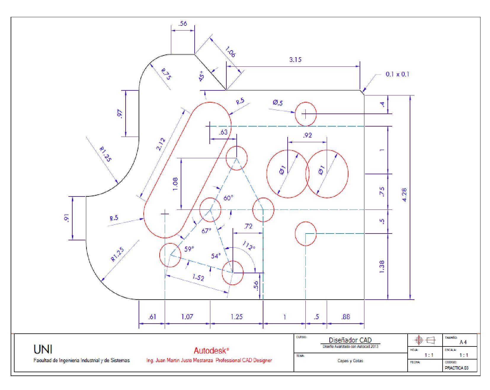 Practica Calificada N 3 Acotacion Autocad Drawing Technical Drawing Geometric Construction