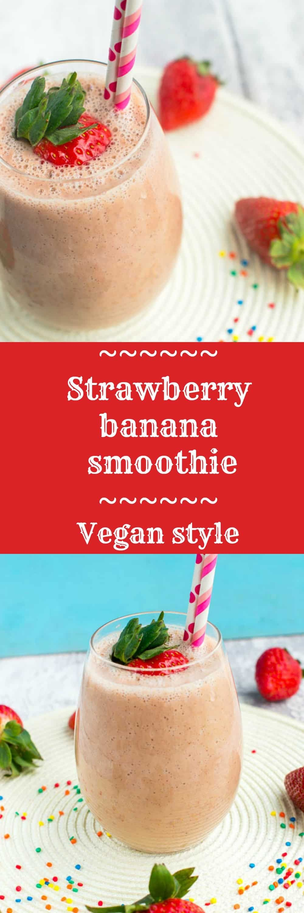 Strawberry and banana smoothie (vegan) #strawberrybananasmoothie
