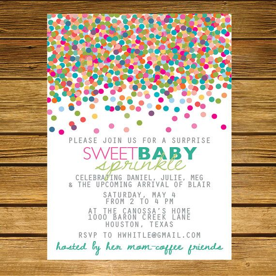 sprinkle second baby shower invitation pink blue green teal