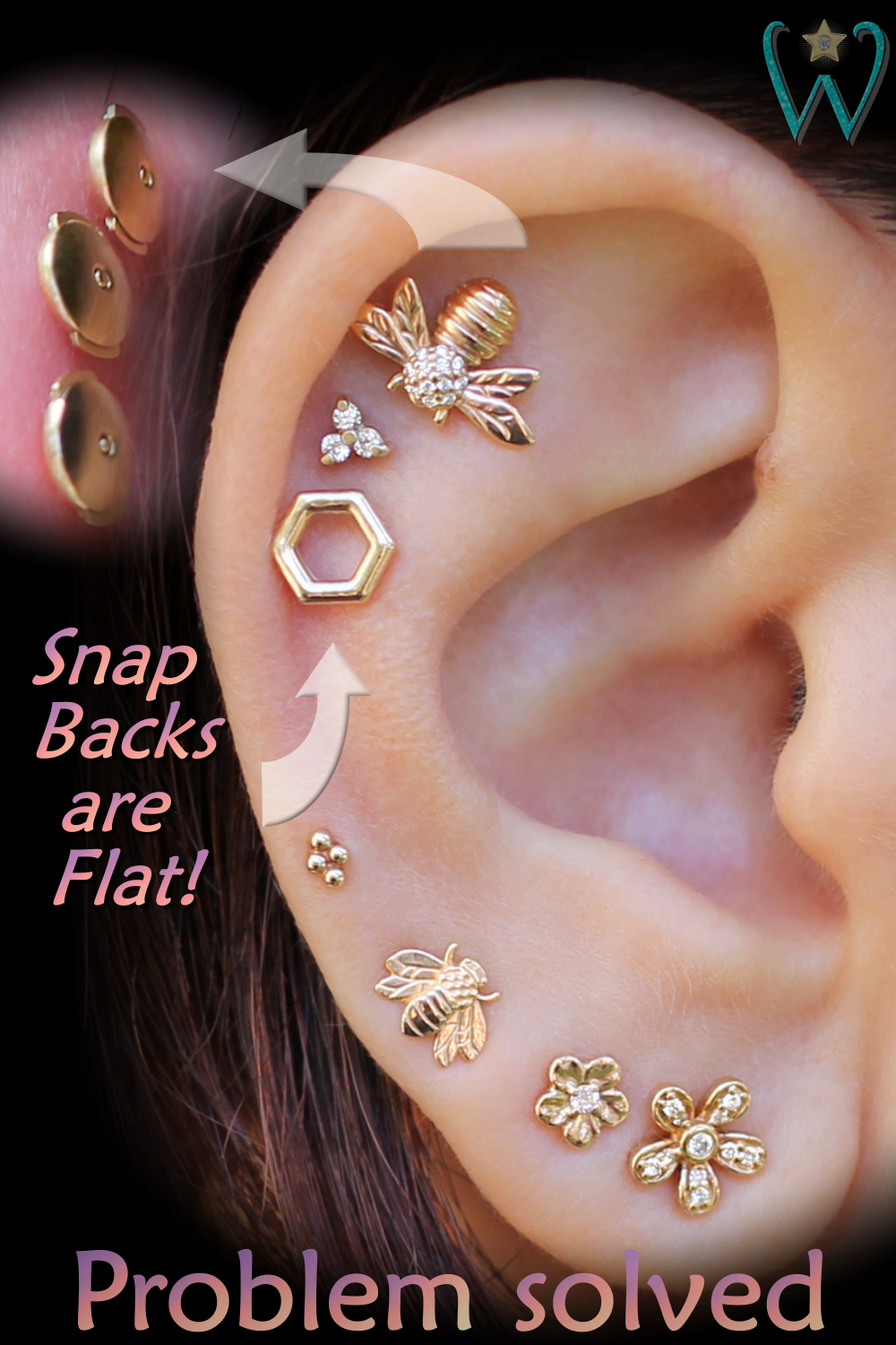 These Snap Back Cartilage Stud Earrings