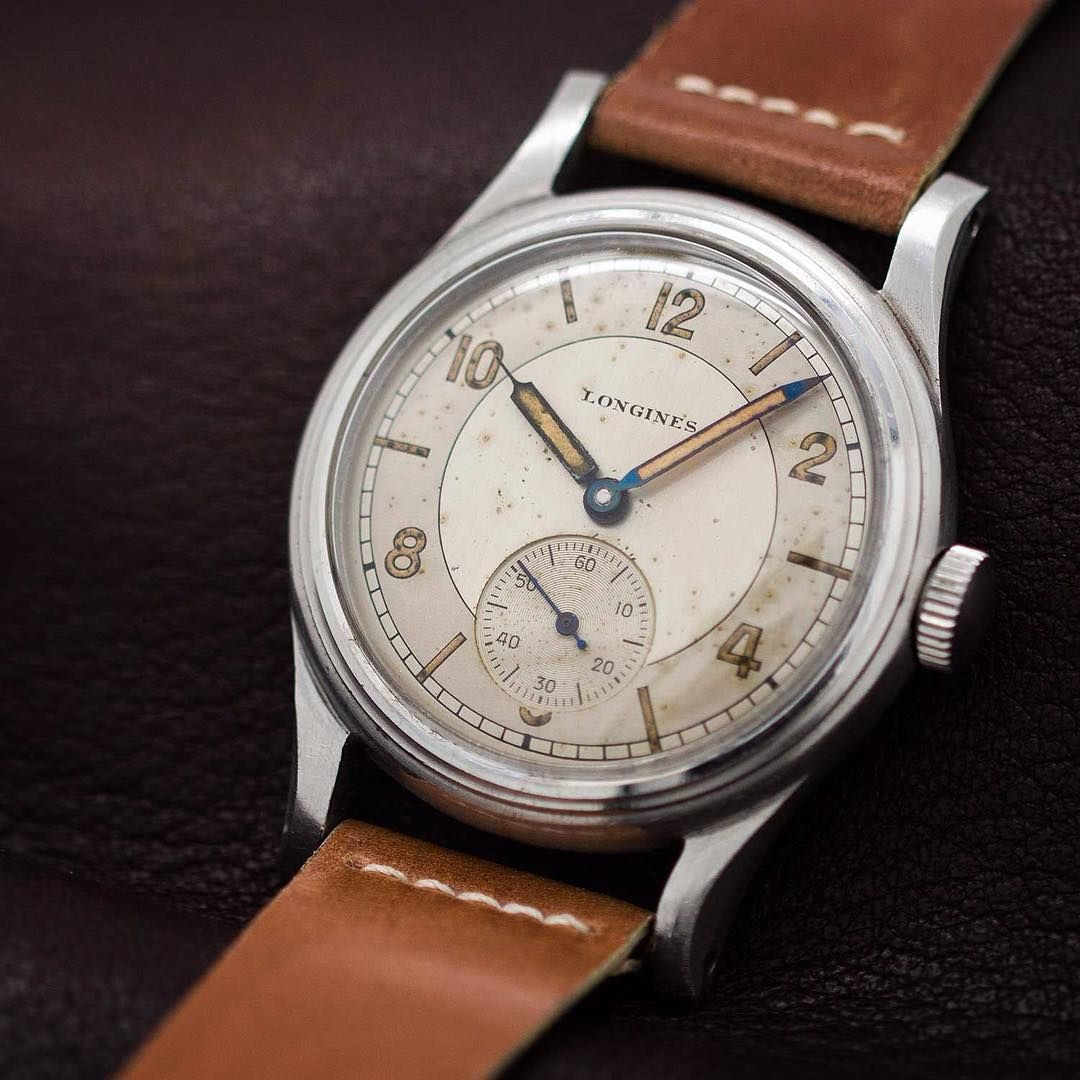 """Great looking post WWII era Longines with great original dial and screw down back."