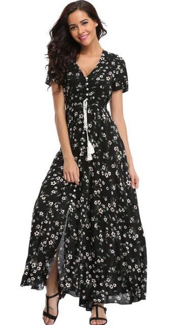 70f277a34e5d Gender  Women Style  Bohemian Silhouette  A-Line Sleeve Length(cm)  Short  Neckline  V-Neck Dresses Length  Ankle-Length Season  Summer Material   Cotton ...