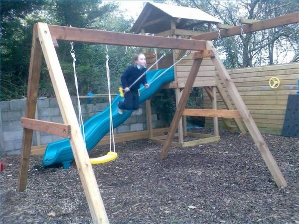 How To Make Your Own Swing Set With 4x4 Lumber Hunker Swing Set Swing Set Diy Wooden Swing Set