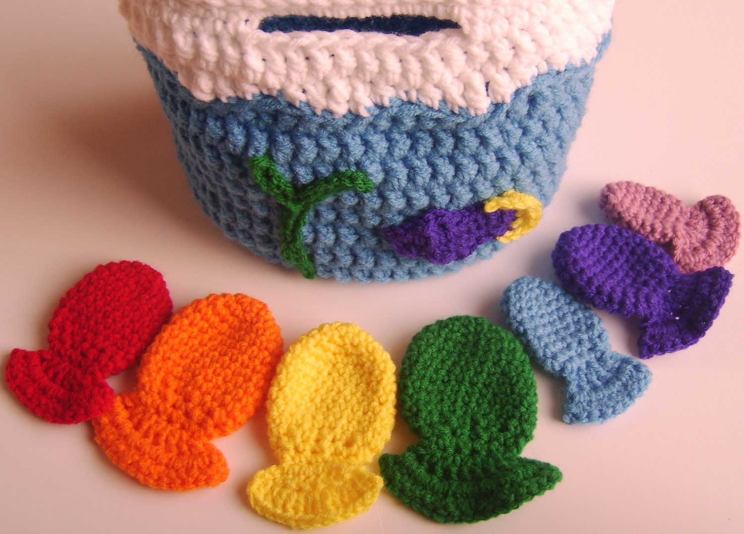 """Crochet Rainbow  """"Fishbowl"""" Tote, Made to Order, Crochet Toy, Amigurumi, Baby toy, Toddler Toy. $35.00, via Etsy."""