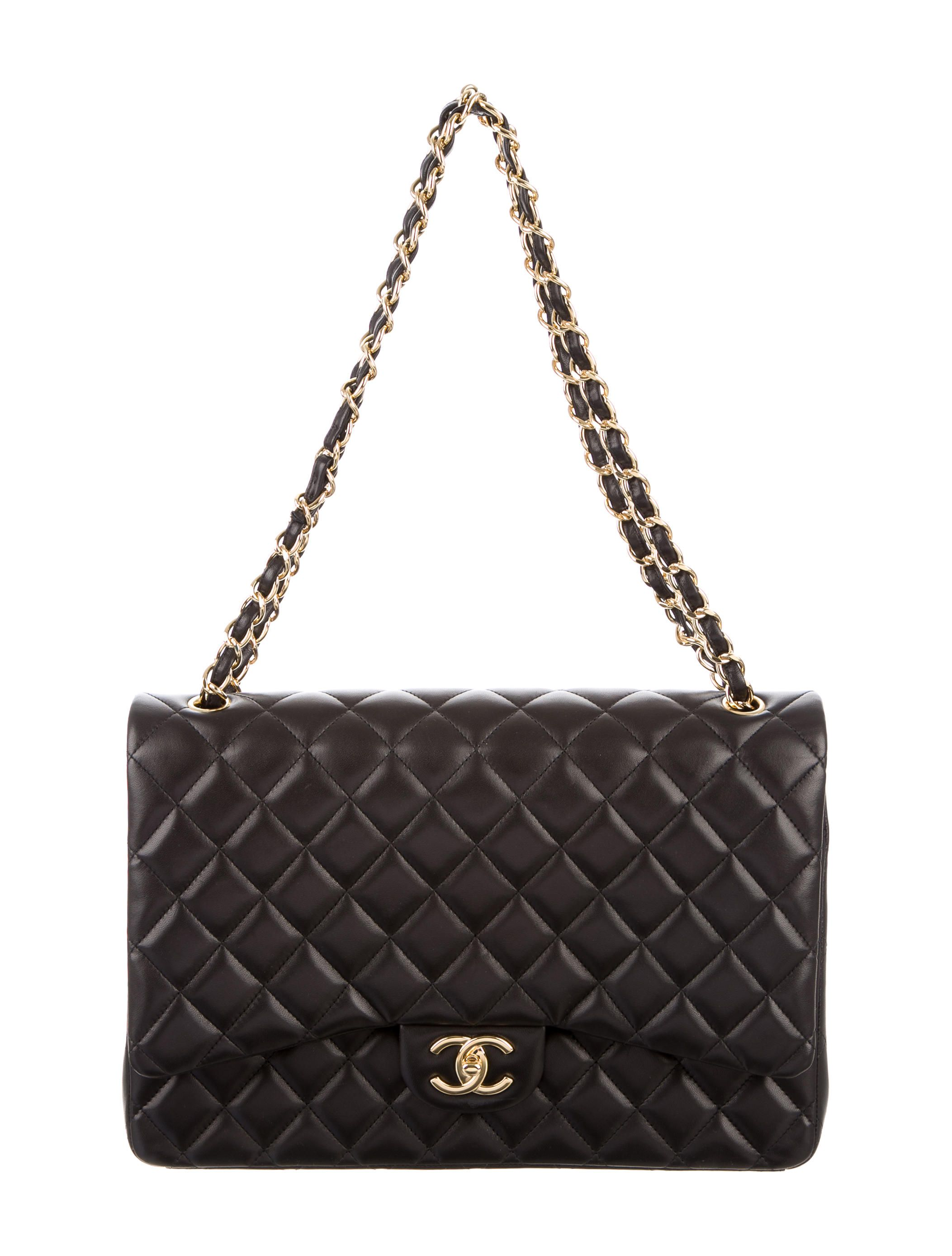 8ae3ec9e29ef Black quilted lambskin Chanel Classic Maxi Flap bag with gold-tone  hardware, single shoulder strap with chain-link and leather accents, single  slit pocket ...