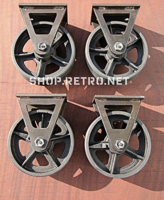 6 Vintage Factory Caster Wheel Set Antique Industrial 6fc