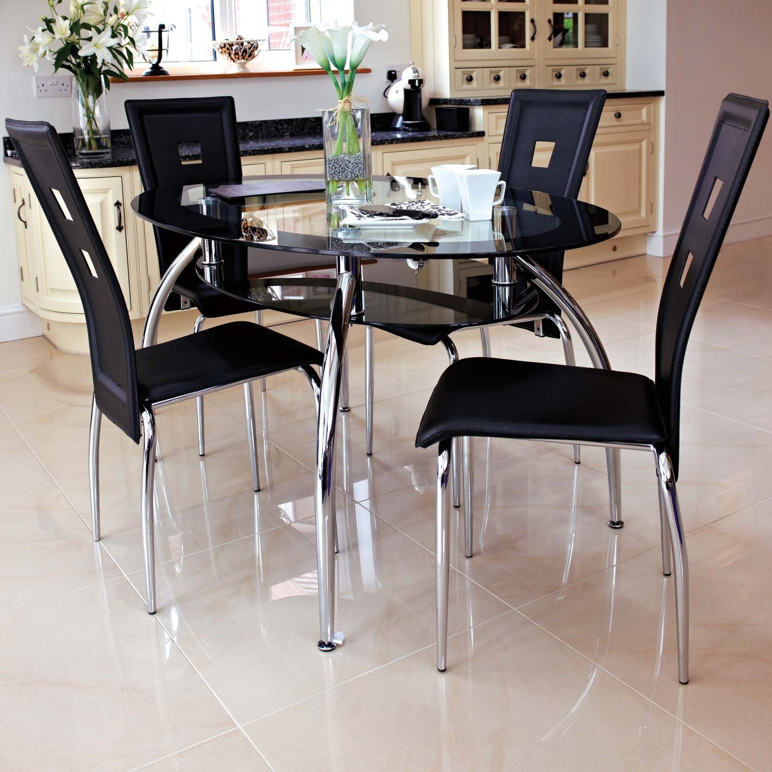 Glass Dining Table Set 4 Chairs Abbey Dining Set Clear Glass Table With 4 Black Chairs Black