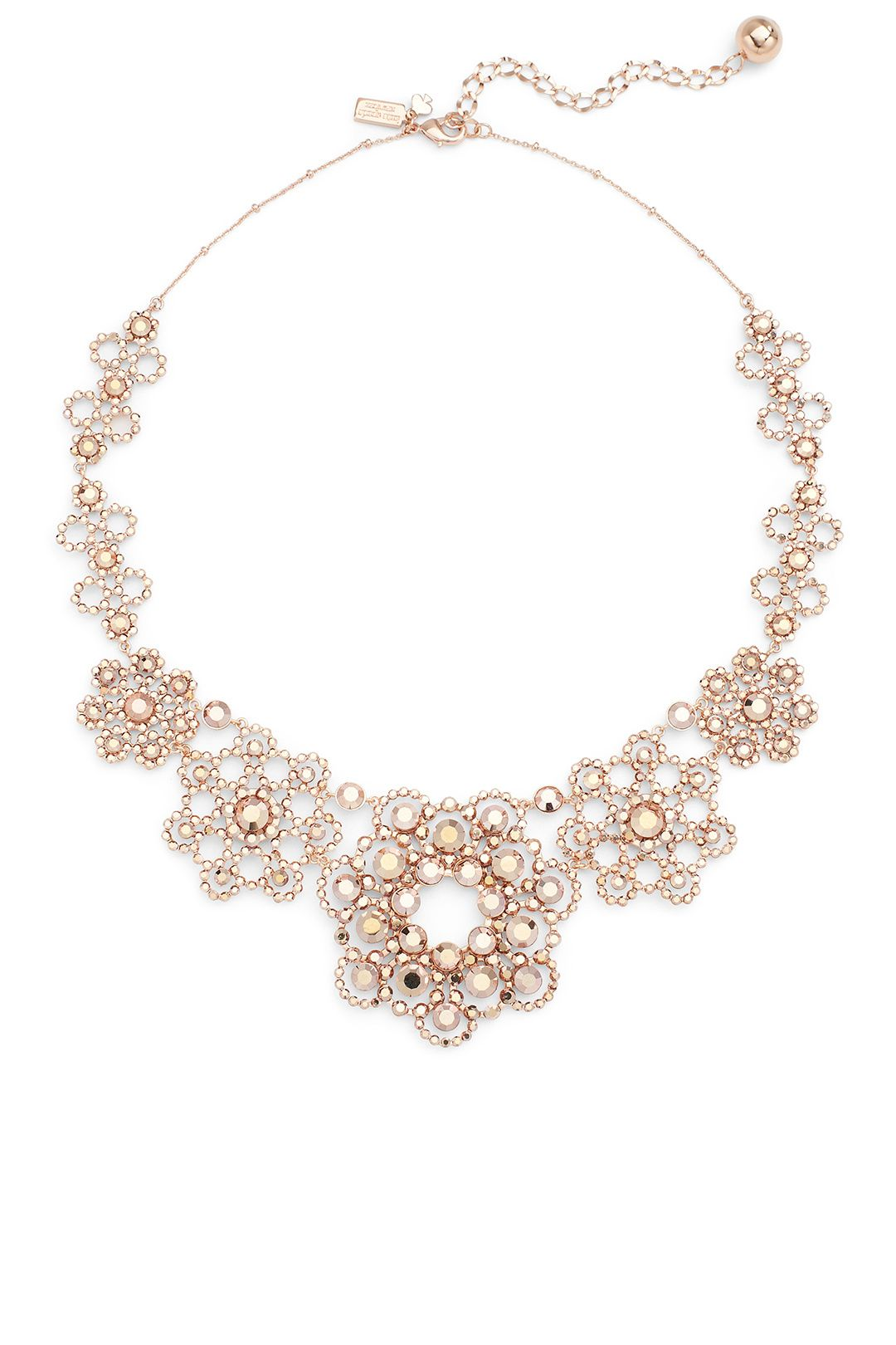 Rose Gold Crystal Lace Necklace Lace necklace Crystals and Gold
