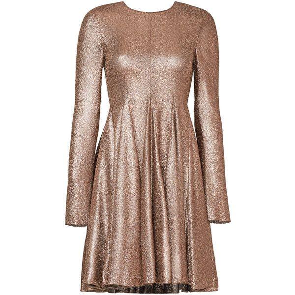 Rental Vera Wang Liquid Shine Dress ($250) ❤ liked on Polyvore featuring dresses, gold, longsleeve dress, long sleeve a line dress, shiny dress, long sleeve dress and long sleeve stretch dress