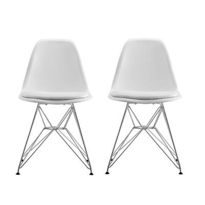 Dhp Alba White Mid Century Modern Molded Chair With Upholstered