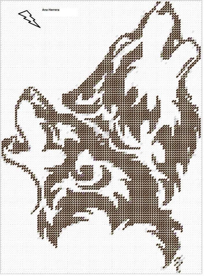 черно-белого схема волка вышивки