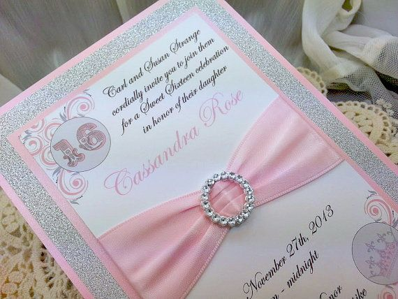 Pink and Grey Sweet 16 Invitations With Sparkling Silver Glitter