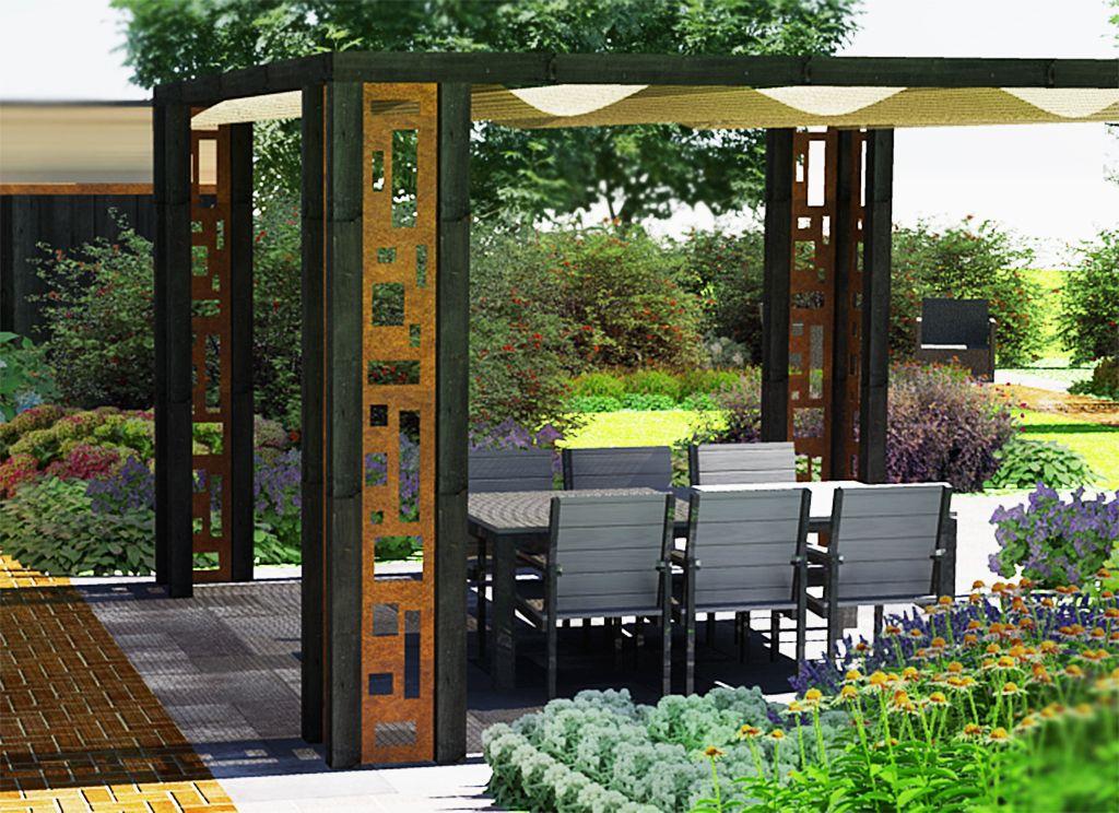 Shadow lounge pergola met cortenstaal en donker hout erboven hangt een - Pergola hout bedekt ...