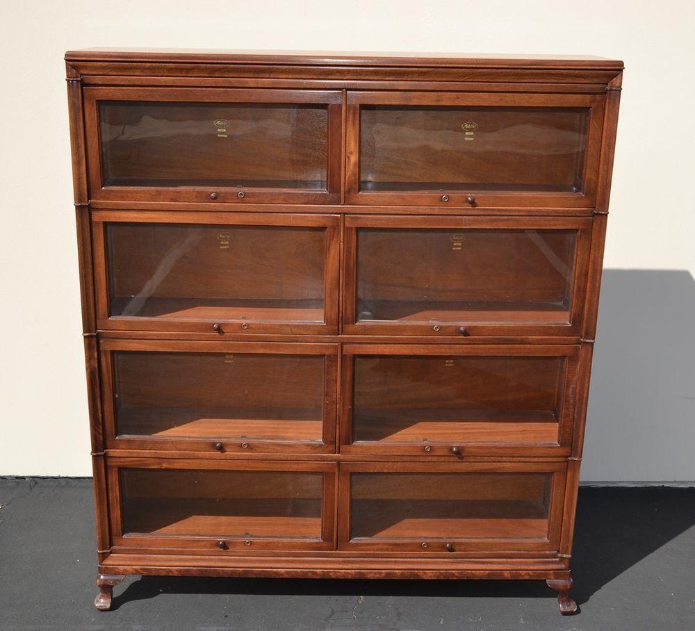 Macey Mahogany Barrister Bookcase Double Section Antique Globe Wernicke Era Rare