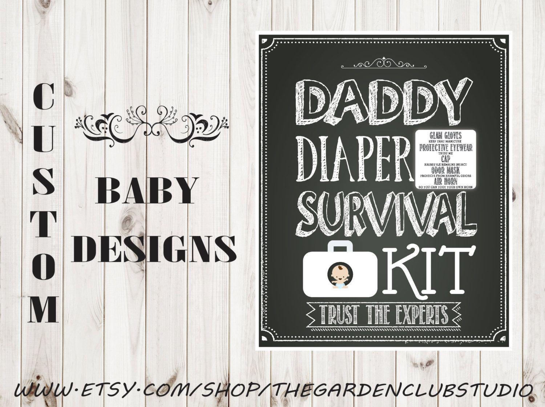 Custom Baby Shower Daddy Survival Kit Diaper T