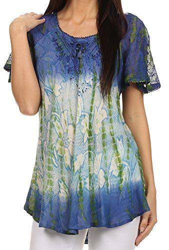 Sakkas 14783 - Dina Relaxed Fit Sequin Tie Dye Embroidery Cap Sleeves Blouse / Top - Blue / Beige - OSP Sakkas http://www.amazon.com/dp/B00UF7XOV0/ref=cm_sw_r_pi_dp_soMVwb1X8AEW4