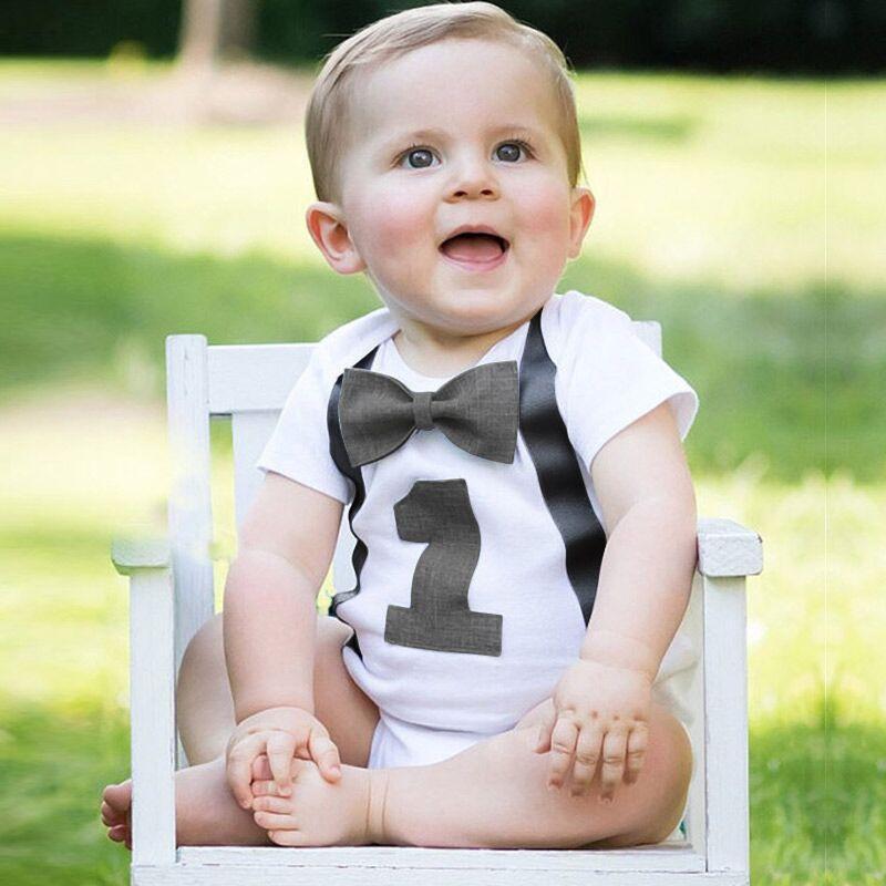 Baby 1st Birthday Overalls Toddler Shorts Jumpsuit Unisex Children/'s Clothing Rainbow Baby Romper