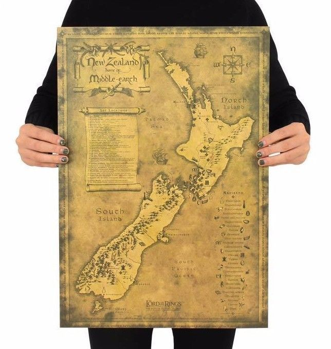 NEW Art Posters New Zealand Mysterious Old Map Poster Restoring ...