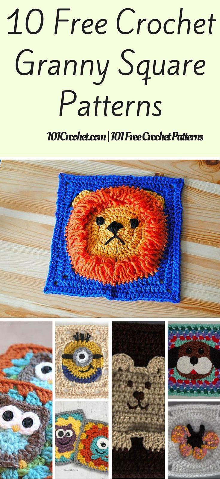 10 Free Crochet Granny Square Patterns | Häkelmuster, Häkeln und Decken