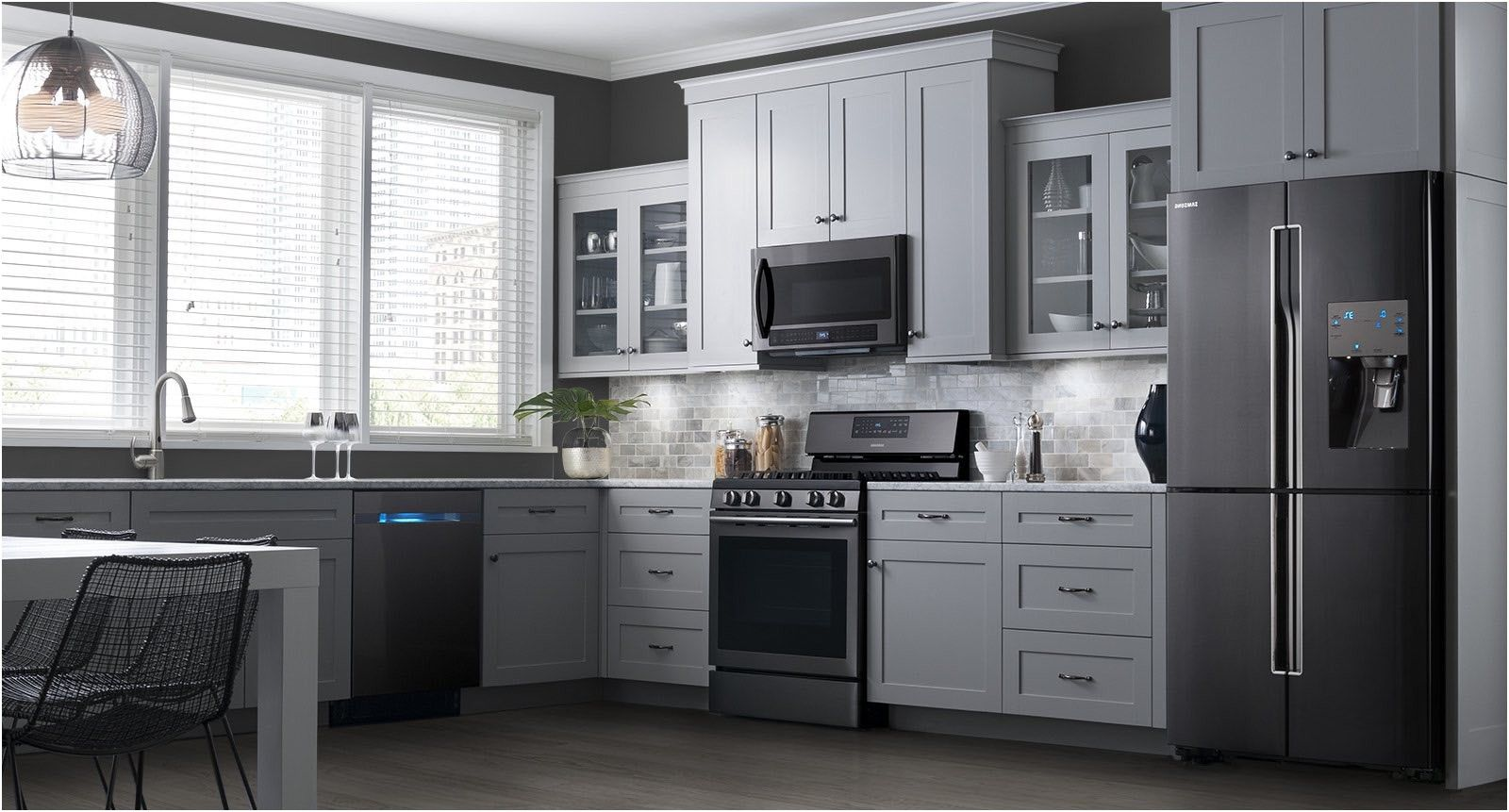 kitchenaid vs samsung black stainless steel appliances ...