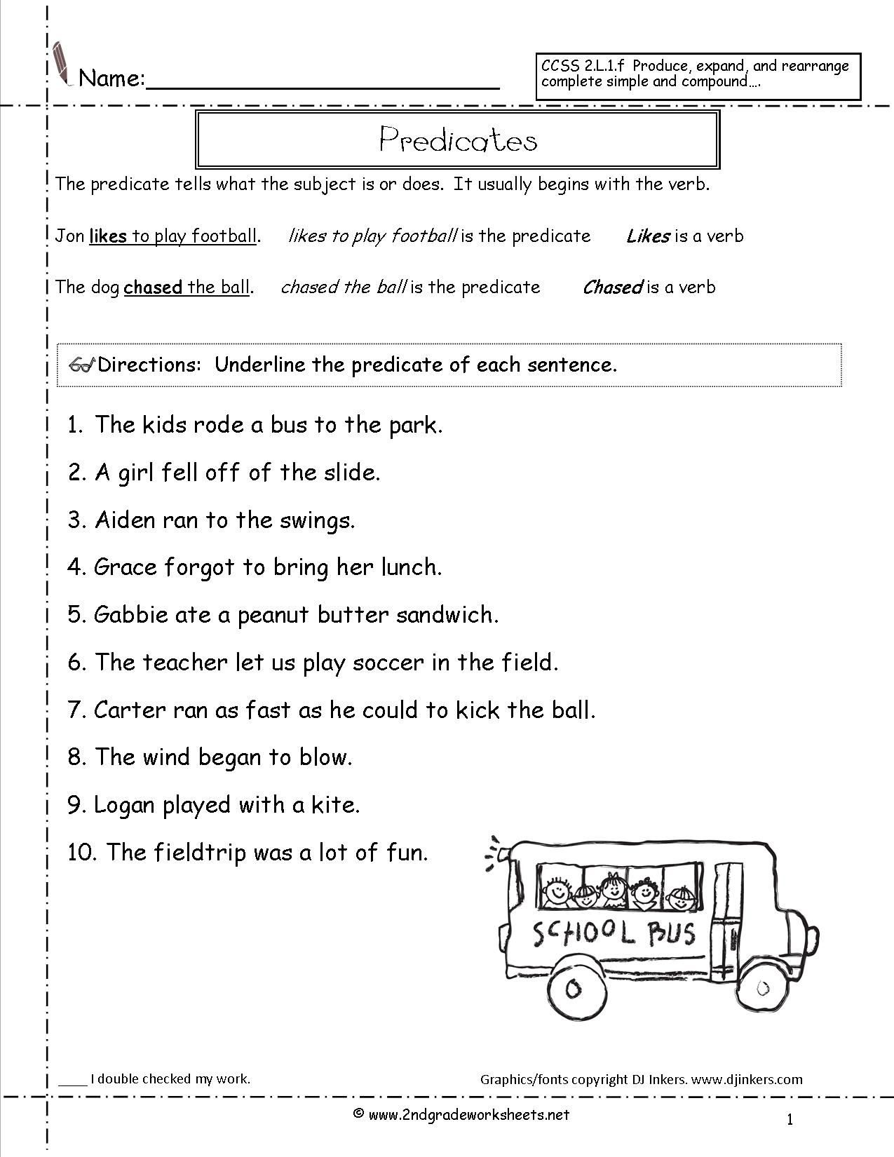 Subject and Predicate Sentences Worksheets for 3rd | teaching ...