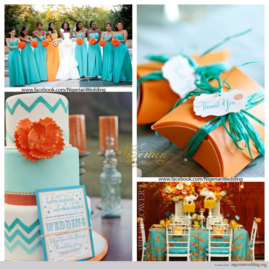 Nigerian wedding stage decoration  nigerian wedding turquoise blue and orange wedding color scheme